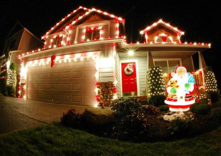 iluminacion exterior decoracion navideña luces papa noel ideas