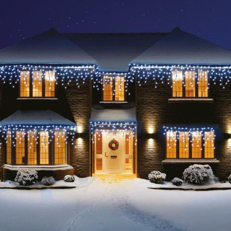 iluminacion exterior decoracion navideña luces ventanas entrada ideas