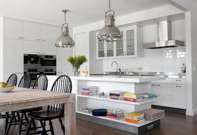 Cocinas con isla estanteria abierta estilo fresco y for Cocinas abiertas con isla