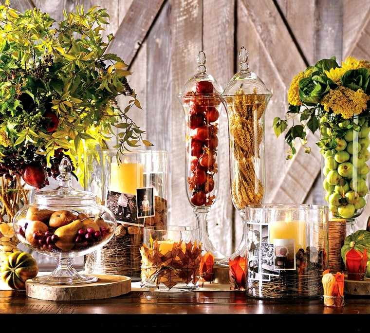 jarrones cristal frutas otono centro mesa otoño