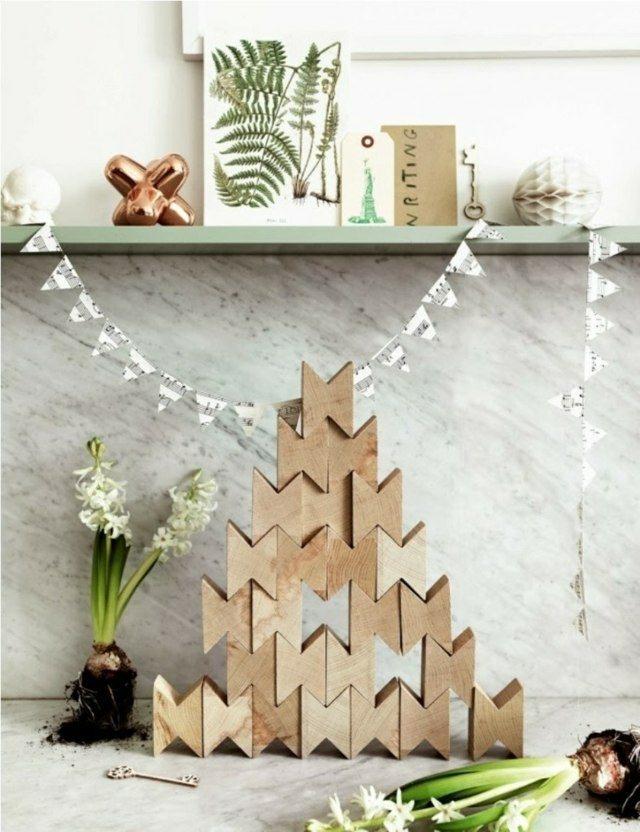 juego piezas madera arbol navidad