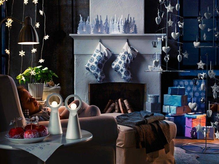 luces de navidad ideas estilo azules plantas