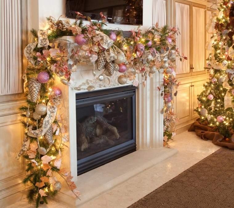 luces de navidad estilo chimenea plantas decorado