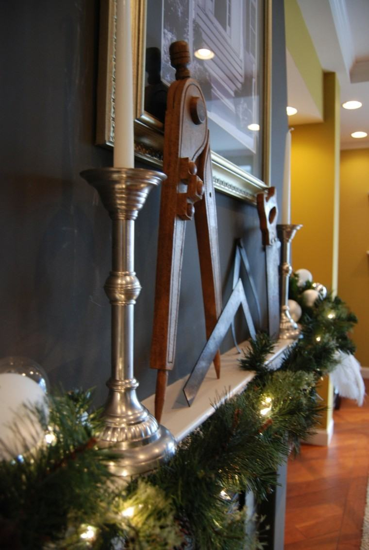 luces de navidad ideas estilo chimnea estante compas