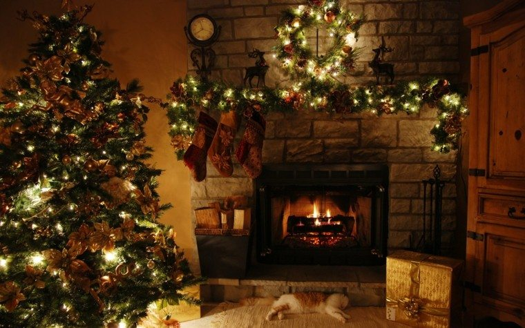 luces de navidad ideas estilo rocas chimenea rocas