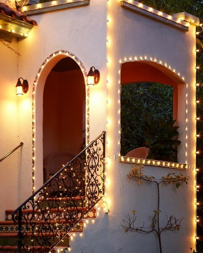 Adornos navide os r sticos para exterior 50 ideas geniales for Luces decoracion exterior