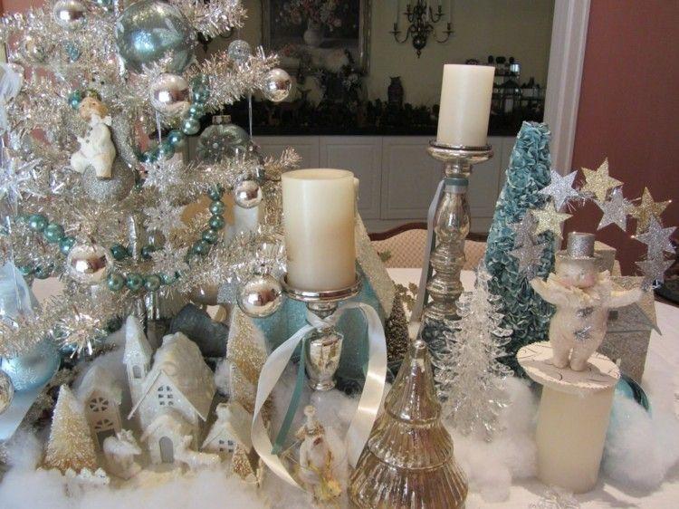 lujosa mesa adornos navidad