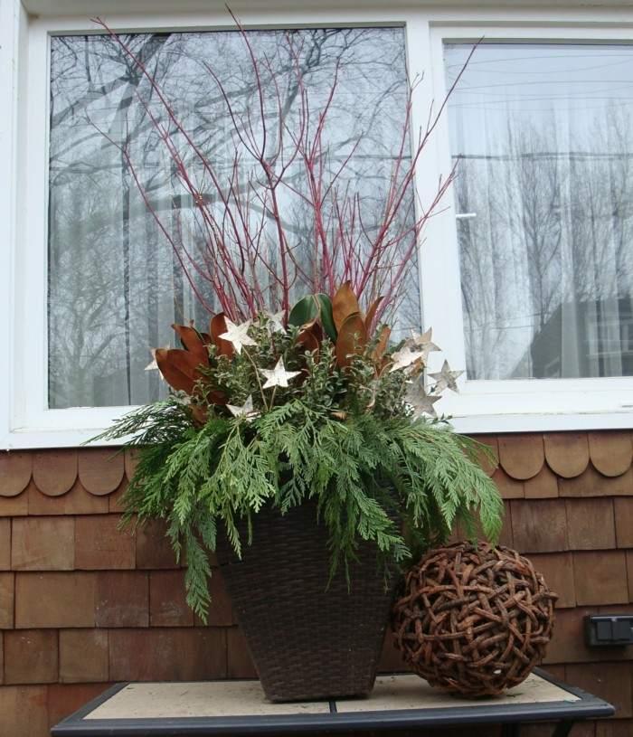 maceta mimbre adorno navidad plantas
