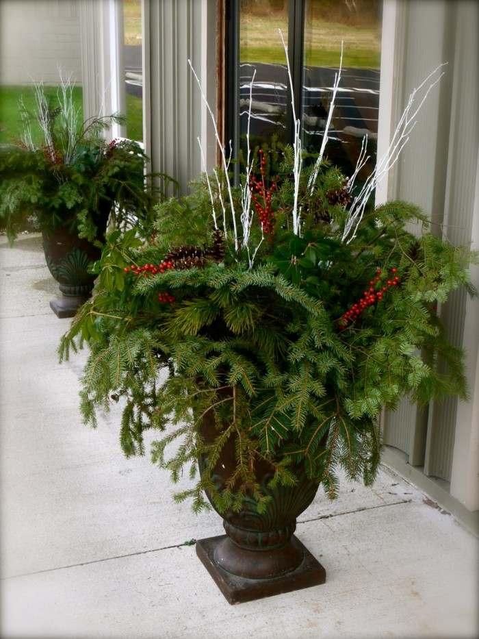 macetas adornos navideños plantas