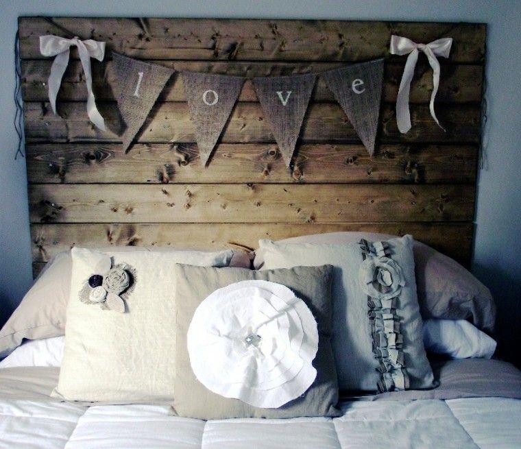 madera cabecero lazos cintas romantico
