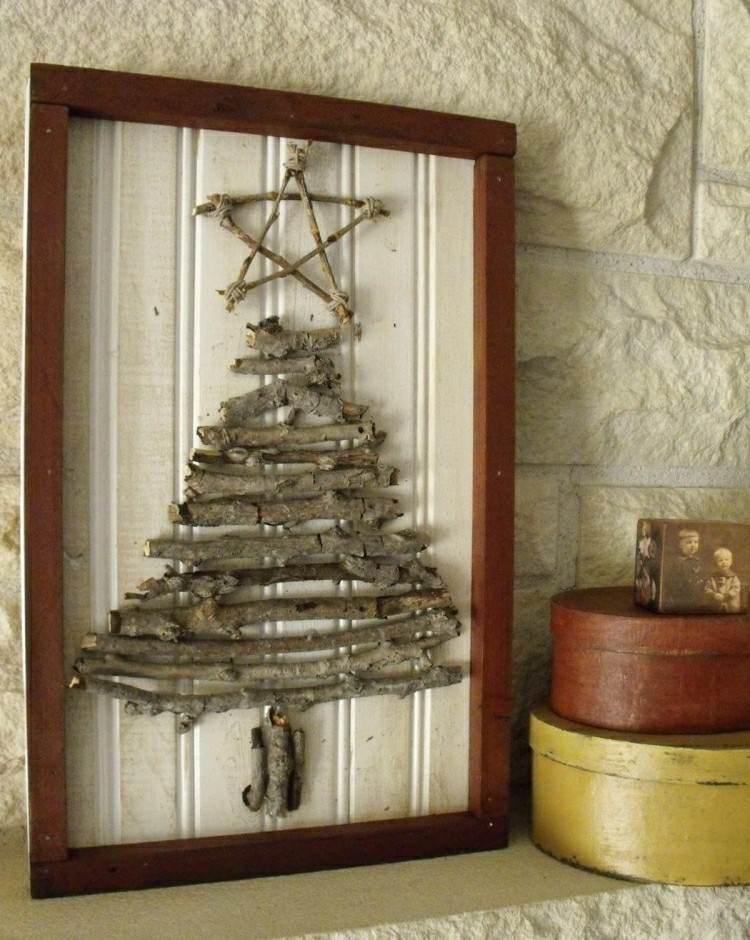 madera simple cuadro estrella navidad