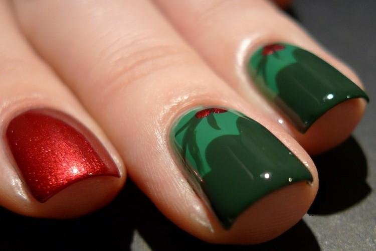 manicura de navidad rojo verde