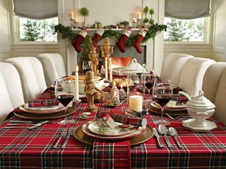 mantel mesa cuadros escoceses rojos