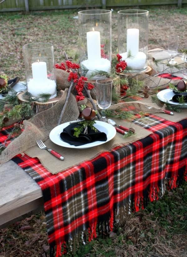 mantel rojo cuadros escoceses mesa