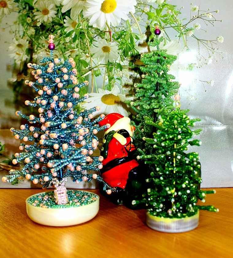 manualidades navidad ideas arboles perlas invierna