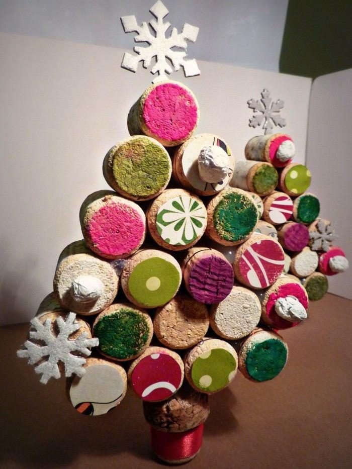 manualidades navidad adornos corcho arbol colores ideas