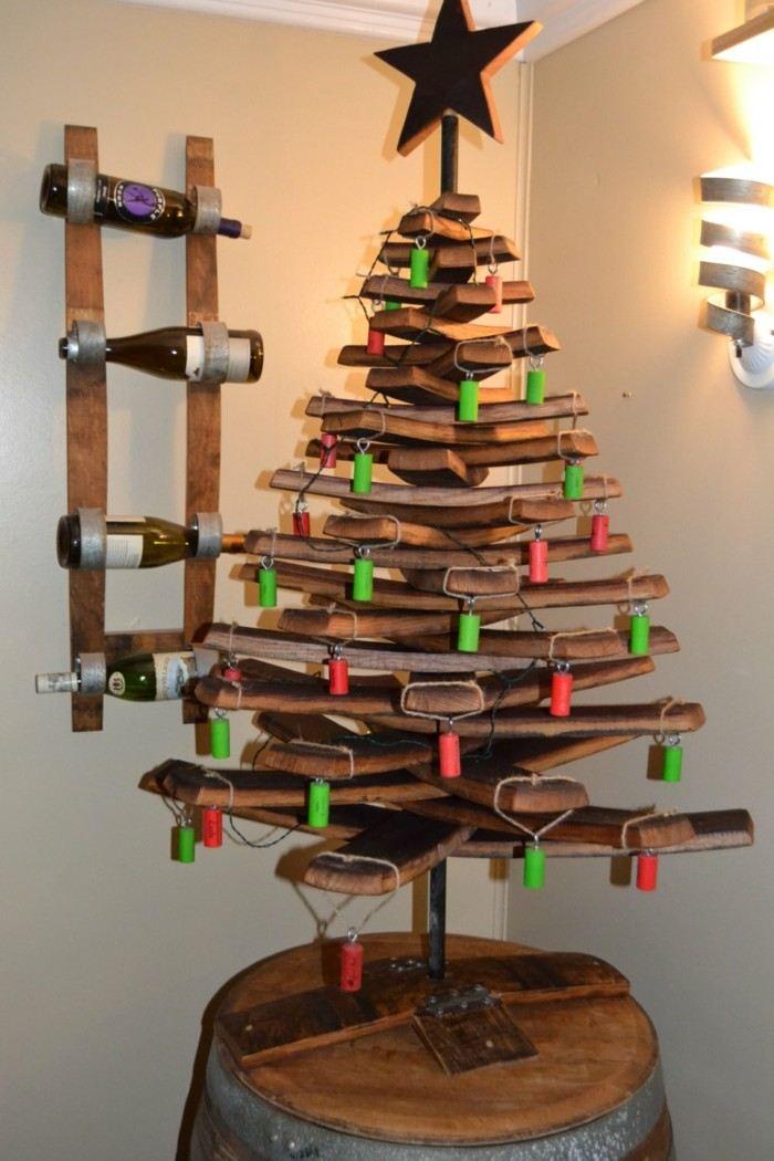 manualidades navidad adornos corcho colgar colores ideas