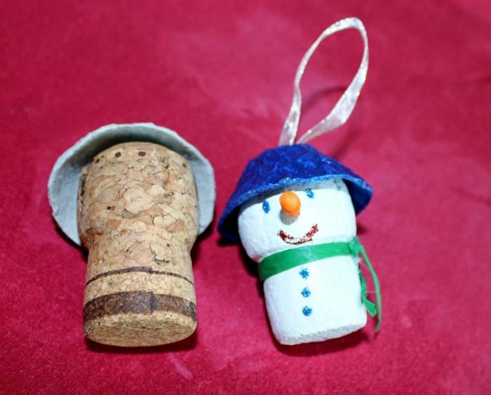manualidades navidad adornos corcho hombre nieve ideas