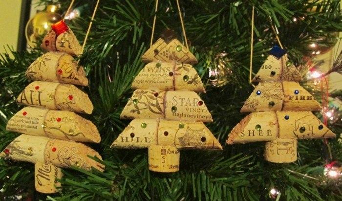 manualidades navidad adornos corcho tapas colgar abeto ideas