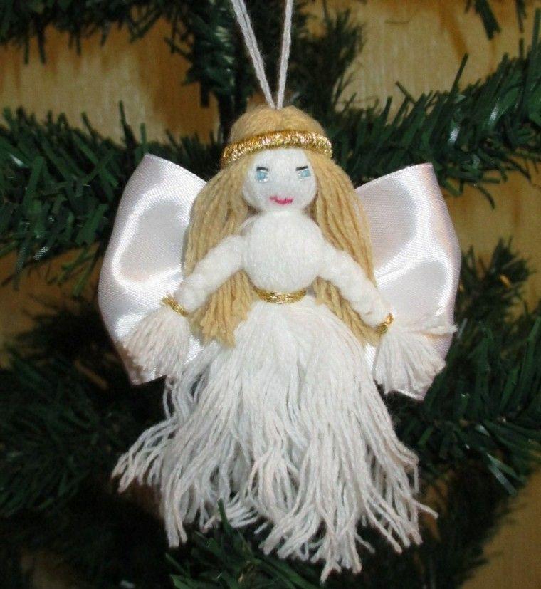 manualidades navidad ideas angel adorno blanco