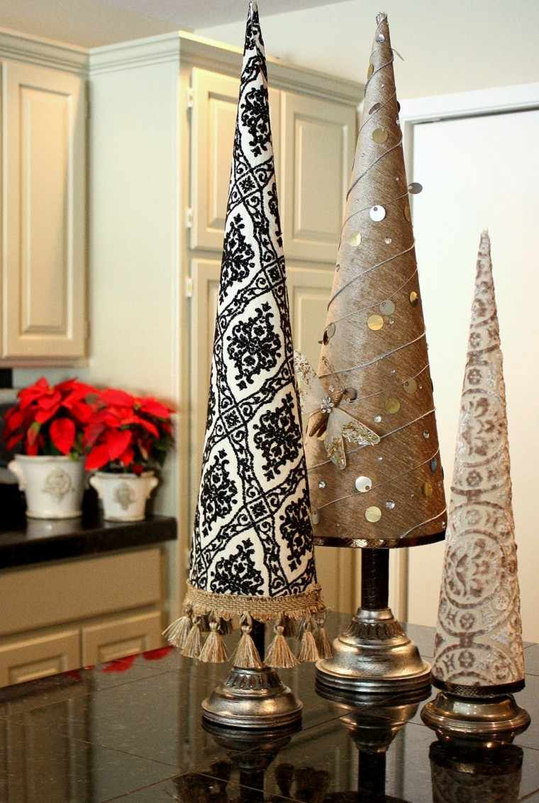 manualidades navidad ideas arboles preciosos tela