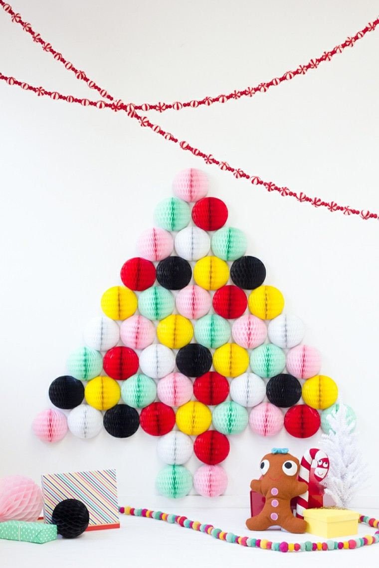 manualidades navideñas decoracion hecha casa arbol colorido ideas