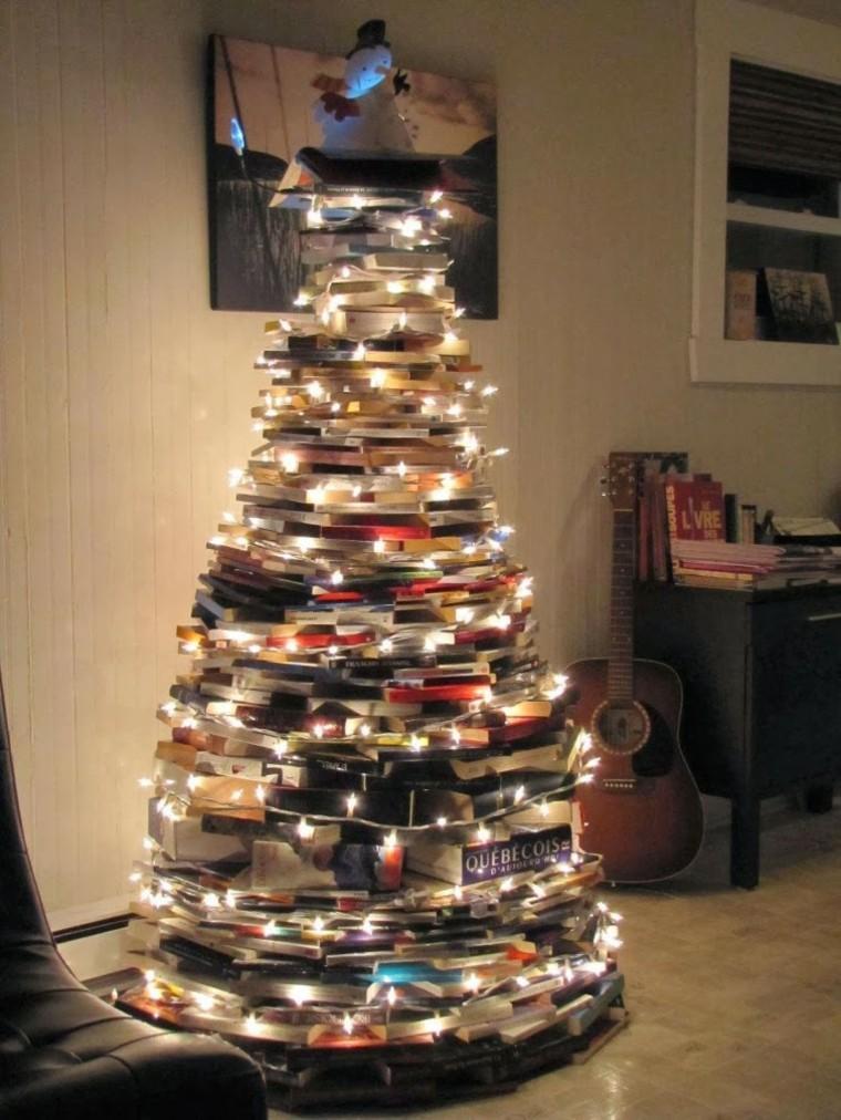 manualidades navideñas decoración hecha casa arbol libros ideas