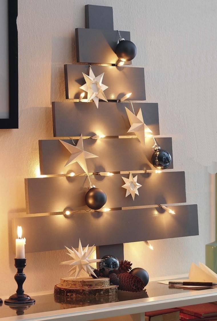 manualidades navideñas decoración hecha casa arbol madera ideas