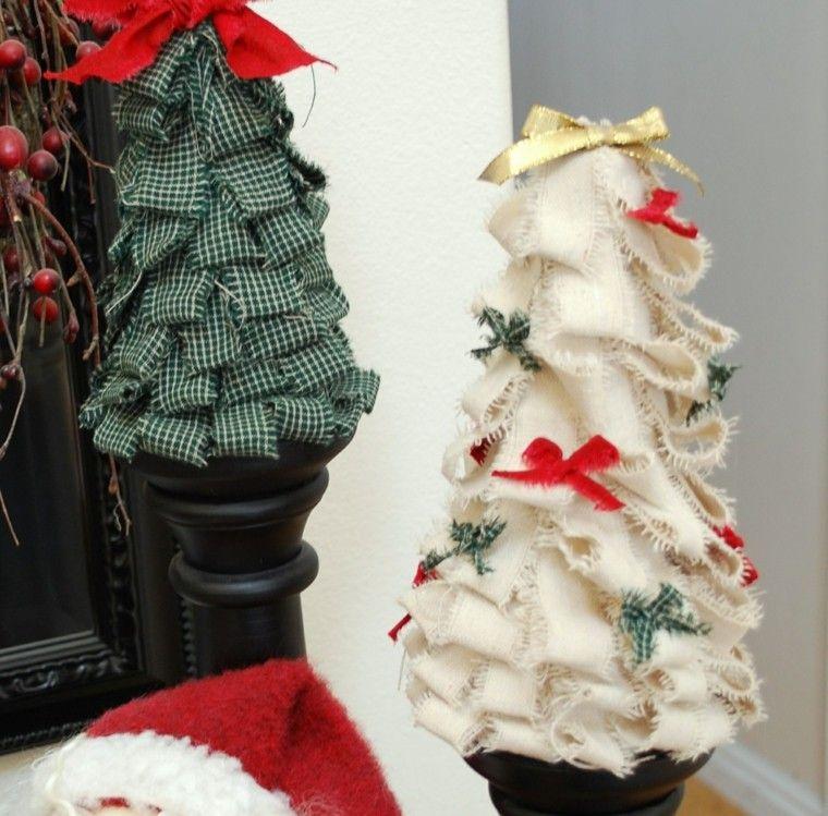 manualidades navideñas decoración hecha casa arbol tela ideas