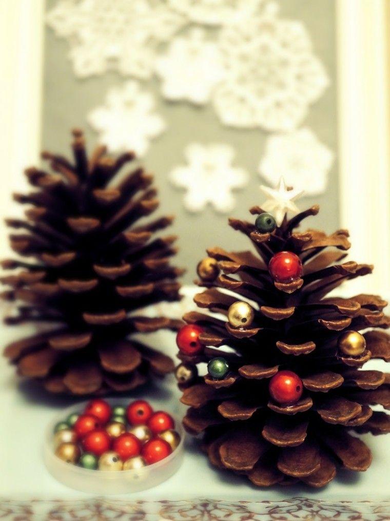 manualidades navidenas decoracion hecha casa pinas cuentas ideas