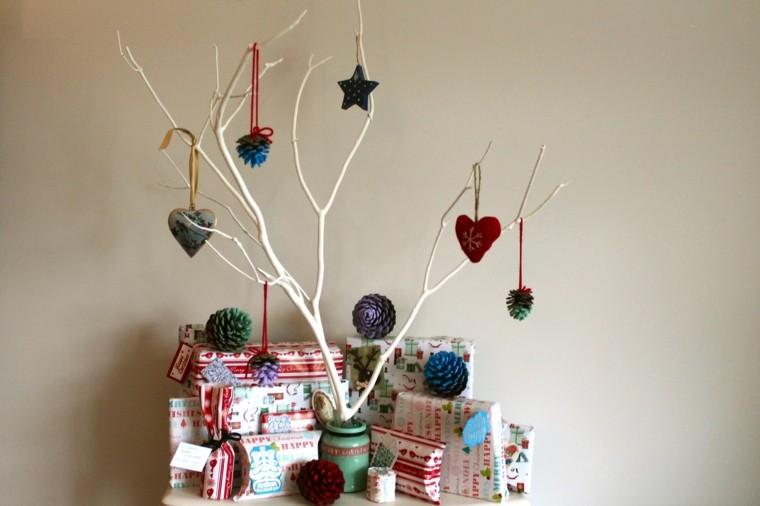 manualidades navidenas decoracion hecha casa rama blanca ideas