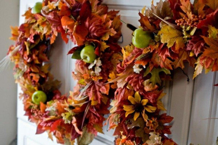 manzana decoracion estilo hojas secas
