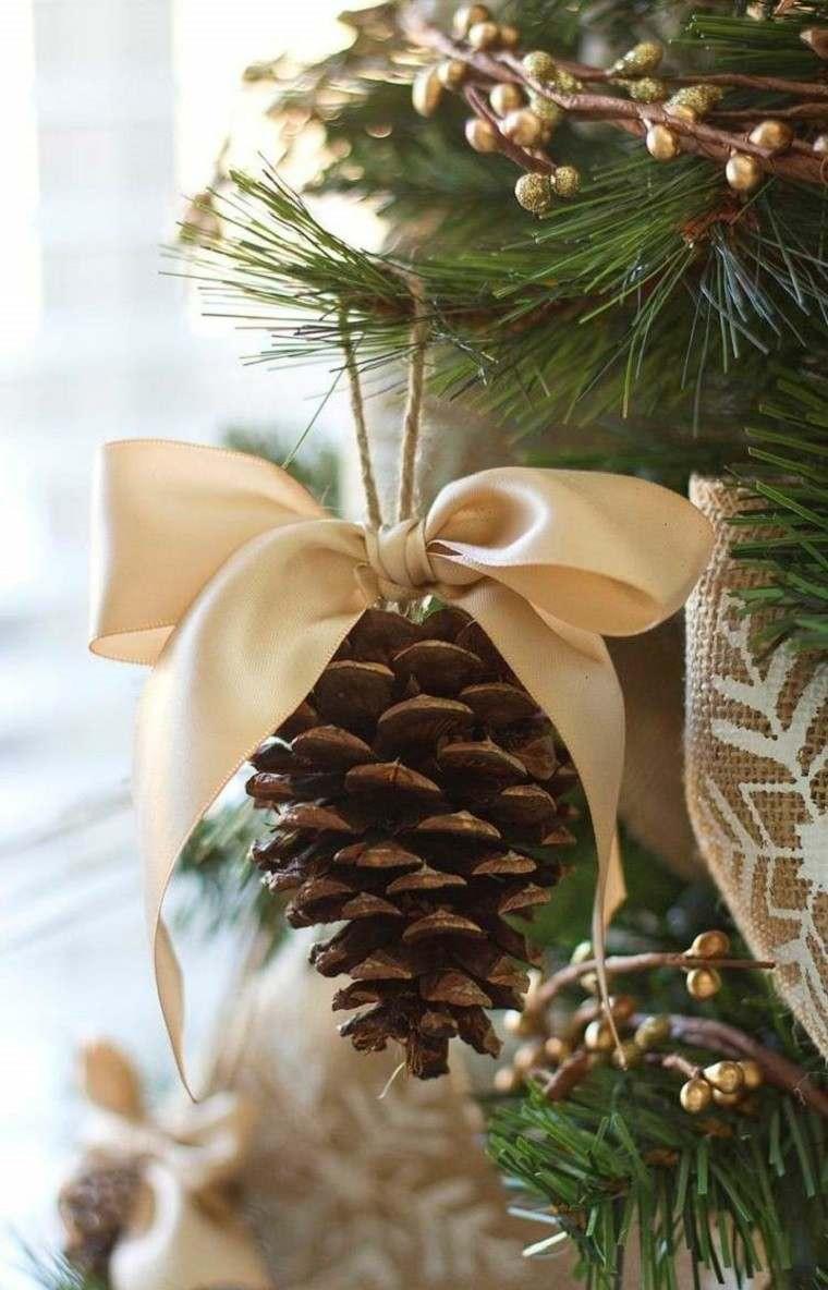 material natural decoracion invierno adorno pina lazo oro ideas