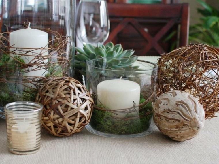 material natural decoracion invierno bolas madera plantas ideas