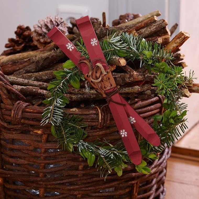 material natural decoracion invierno cesto madera ideas