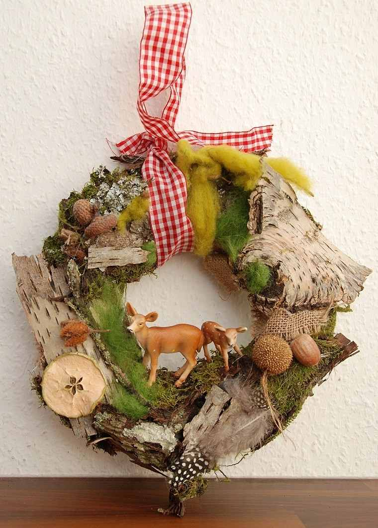 material natural decoracion invierno guirnalda lazo rojo ideas