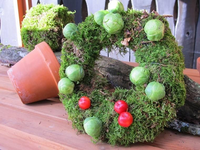material natural decoracion invierno guirnalda manzanas ideas