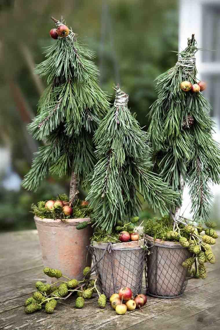 material natural decoracion invierno macetas  pinos ideas