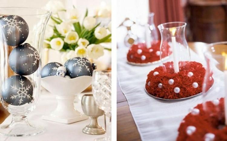 mesa centros detalles esferas flores
