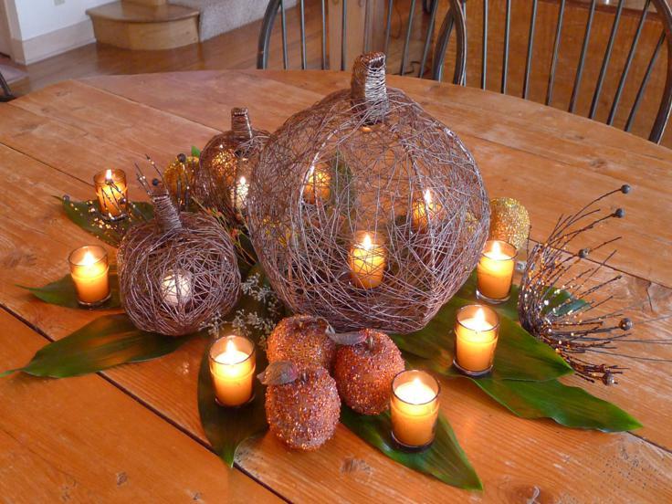 decoracion de cocinas original centro mesa otoño
