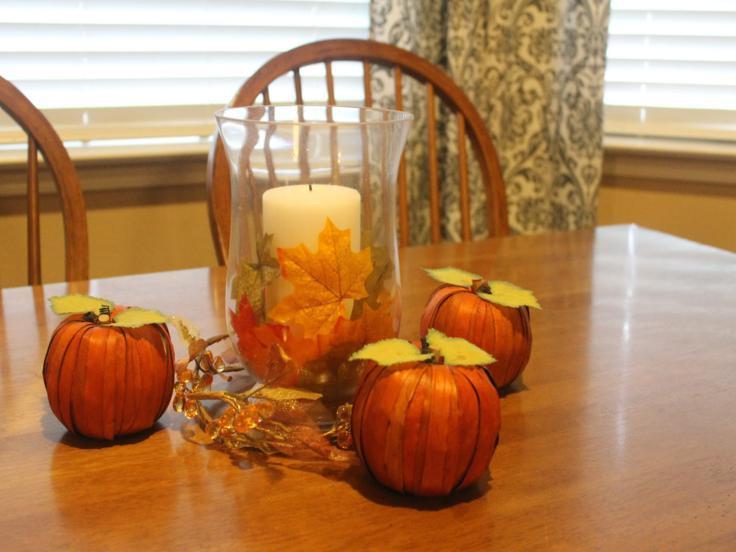 calabazas decorativas vela hojas
