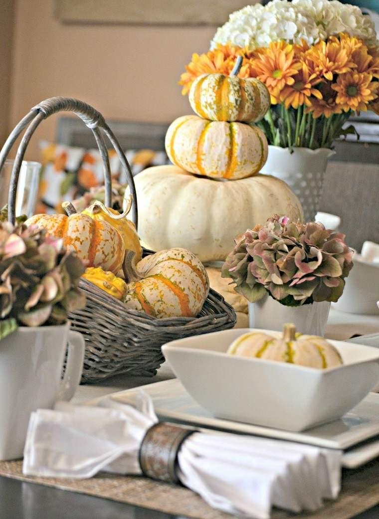 mesa elegante calabazas decora casa otono ideas