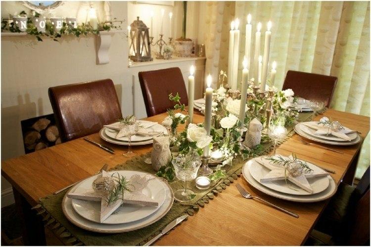mesa madera estrellas platos deco