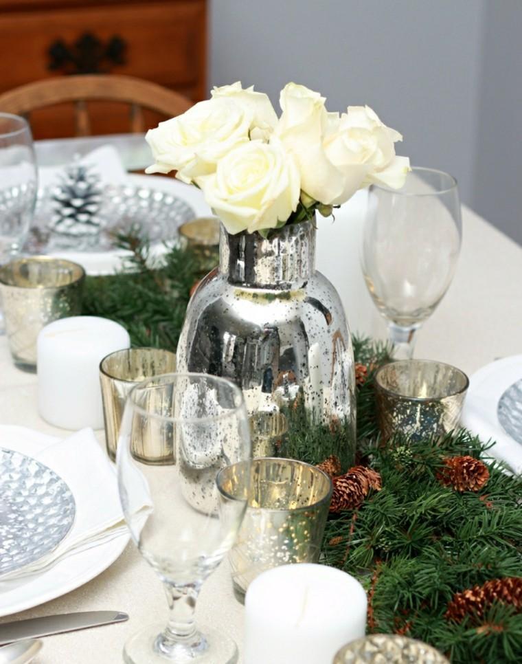 mesa navidad decorada rosas blancas