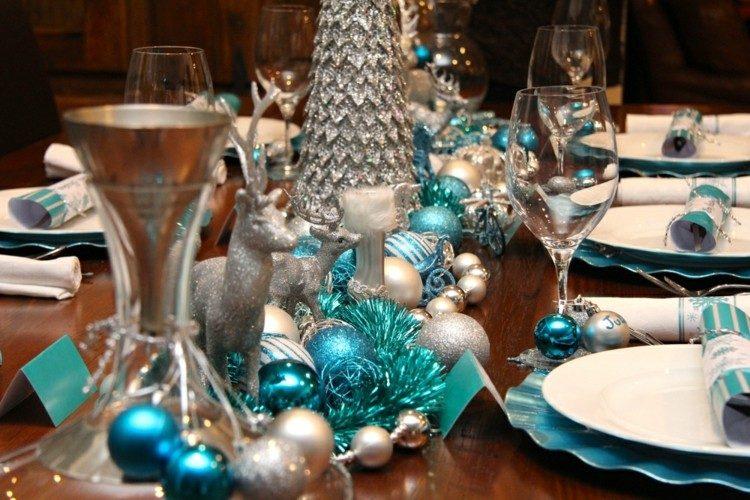 mesa navidad adornos color turquesa