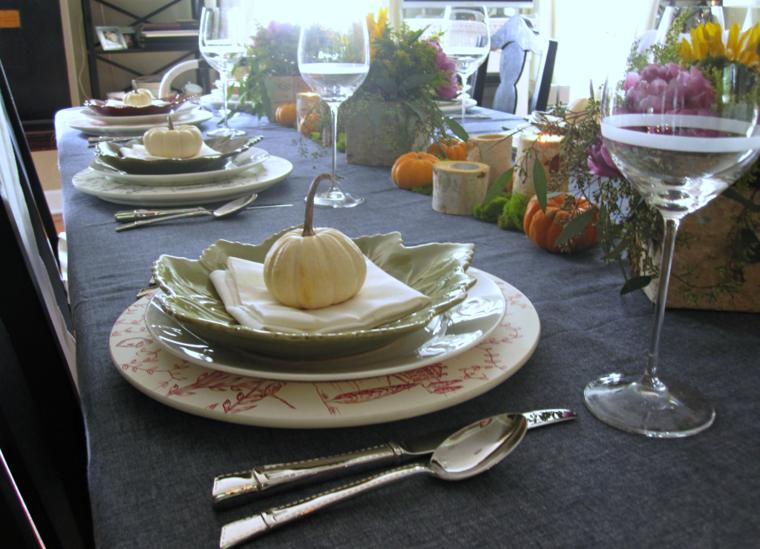 mesa plato calabaza blanca