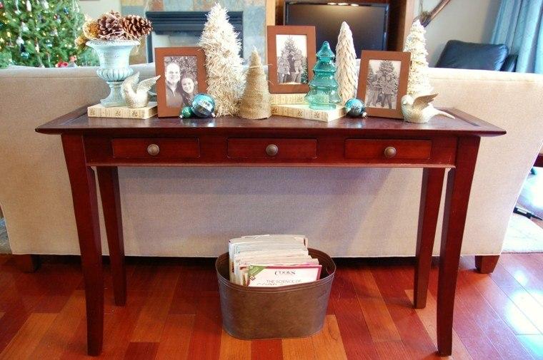 mesas consolas detras sofa salon moderno decoracion navidena ideas