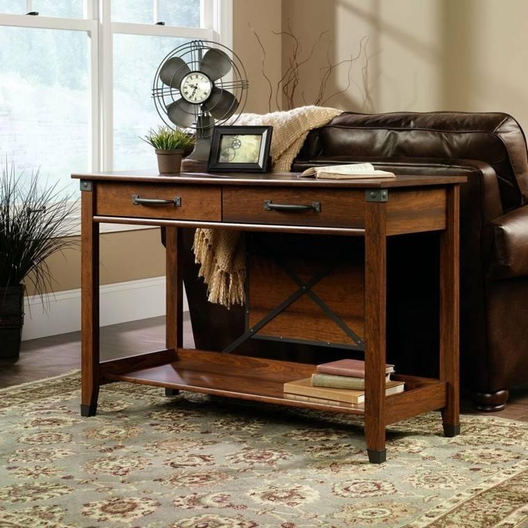 Mesas consolas detras del sof 35 ideas para el sal n - Mesas de libro para salon ...
