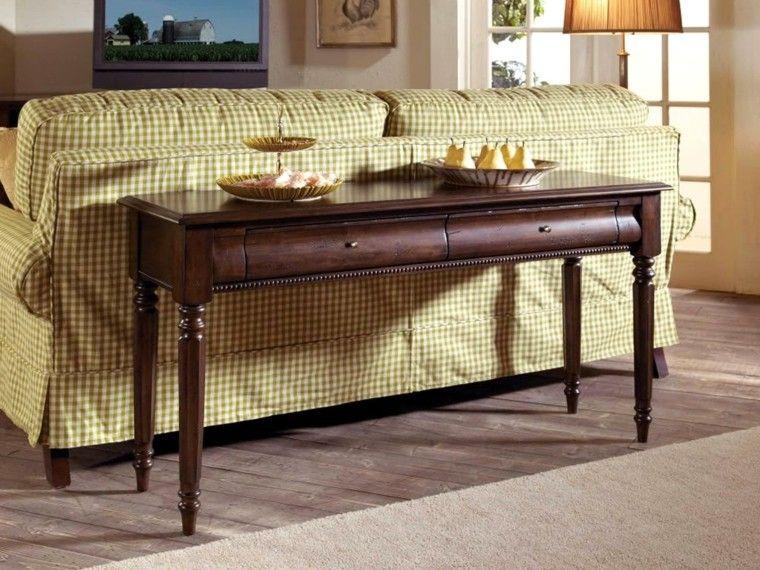 Credenzas Modernas De Madera : Mesas consolas detras del sofá: 35 ideas para el salón