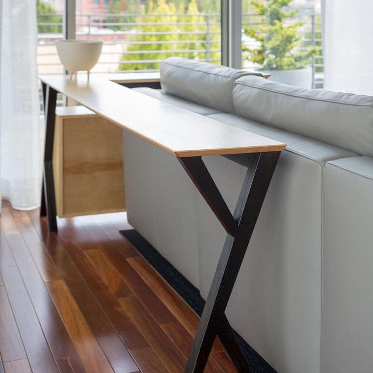 Mesas consolas detras del sof 35 ideas para el sal n - Mesas para el salon ...